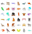 wildlife icons set cartoon style vector image vector image