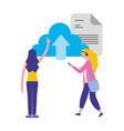 women cloud computing data upload document vector image vector image