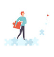 young man walking along road from puzzles to goal vector image vector image
