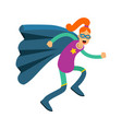 young redhead woman in classic superhero costume vector image vector image