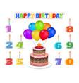 cartoon birthday cake with balloons vector image