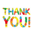 thank you color abstract lettering vector image