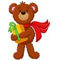 cute bear holding gift box vector image