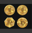 10 years warranty golden labels collection 9 vector image vector image