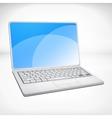 3d rendering of a laptop with blue graphics vector image vector image