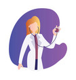 a female doctor holding a stetoscope inside a vector image