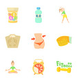 active lifestyle icons set cartoon style vector image