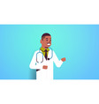 african american man doctor with stethoscope male vector image