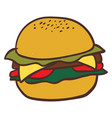 big tasty cheeseburger on white background vector image
