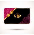 Black vip card template with pink glitter effect vector image