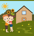 boy and girl huging boy and girl huging vector image vector image