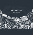 breakfast table banner on chalkboard morning food vector image vector image