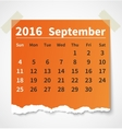 Calendar september 2016 colorful torn paper vector image vector image