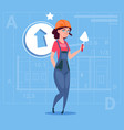cartoon female builder wearing uniform and helmet vector image vector image