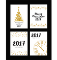 Collection of gold texture Christmas and New Year vector image