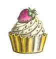 color creamy delicious cake sweet dessert ink vector image vector image