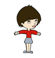 comic cartoon woman with open arms vector image vector image