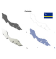Curacao outline map set vector image vector image