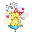 cute cartoon pig in love symbol of new 2019 year vector image vector image