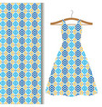 dress fabric with blue geometric mosaic vector image vector image