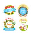 easter eggs and rabbit cartoon symbol set design vector image