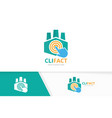 factory and click logo combination vector image vector image