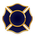 fire rescue logo base dark blue with gold trim vector image vector image