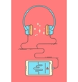 Flat linear smartphone and headphones vector image vector image