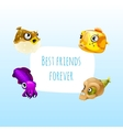 Four best friends fish with frame for text vector image