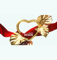 golden heart frame and flowing red fabric vector image