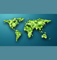 green geometric abstract world map vector image vector image