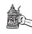 hand holding german stein beer mug drawn vector image vector image