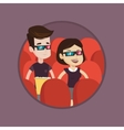 Happy couple watching 3D movie in the theatre vector image vector image