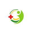 hospital medic cross people logo vector image vector image