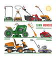 lawn mower gardening lawnmower equipment vector image