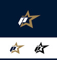 letter p logo template with star design element vector image vector image