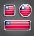Liberia flag glass buttons vector image vector image