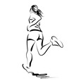 Line sketch of a running woman vector image vector image