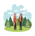 men with winter clothes and winter pine trees vector image vector image