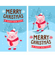 merry christmas happy new year 2019 funny card vector image vector image