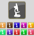 Microscope icon sign Set with eleven colored vector image