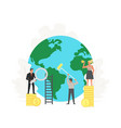 office people stand on money clean up and build vector image vector image
