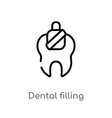 outline dental filling icon isolated black simple vector image vector image