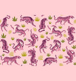 pink tigers and tropical leaves seamless vector image vector image