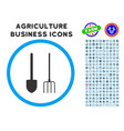 pitchfork and shovel tools rounded icon with set vector image