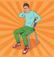 pop art man suffering from back and neck pain vector image vector image