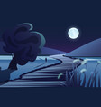 river or lake near mountains in deep night vector image vector image