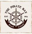 rudder wheel pirate emblem in vintage style vector image vector image