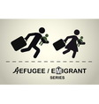 Running people with children and suitcases vector image