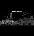 sapporo silhouette skyline japan - sapporo vector image